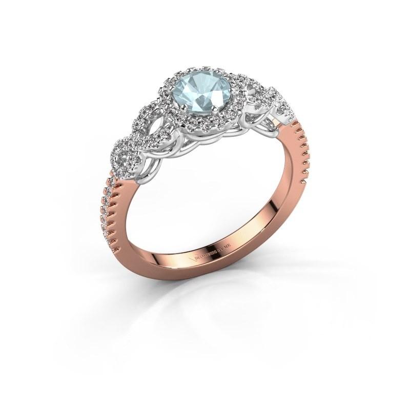 Engagement ring Sasja 585 rose gold aquamarine 5 mm