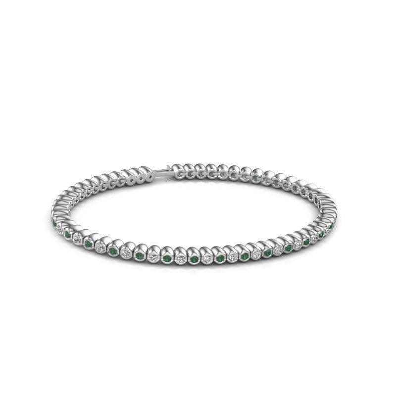 Tennisarmband Trix 585 witgoud smaragd 2 mm