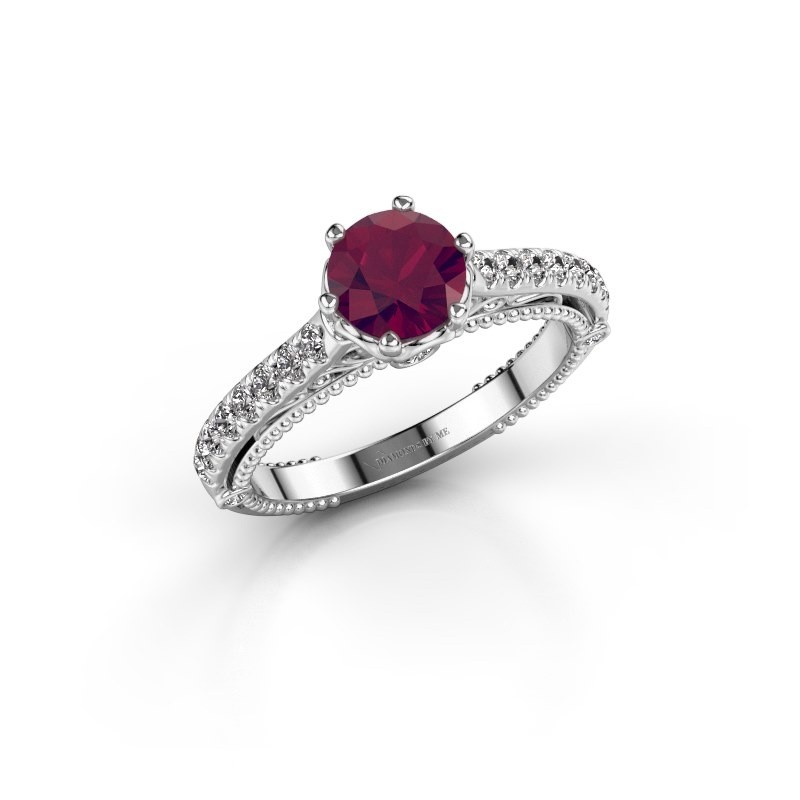 Engagement ring Venita 585 white gold rhodolite 6.5 mm