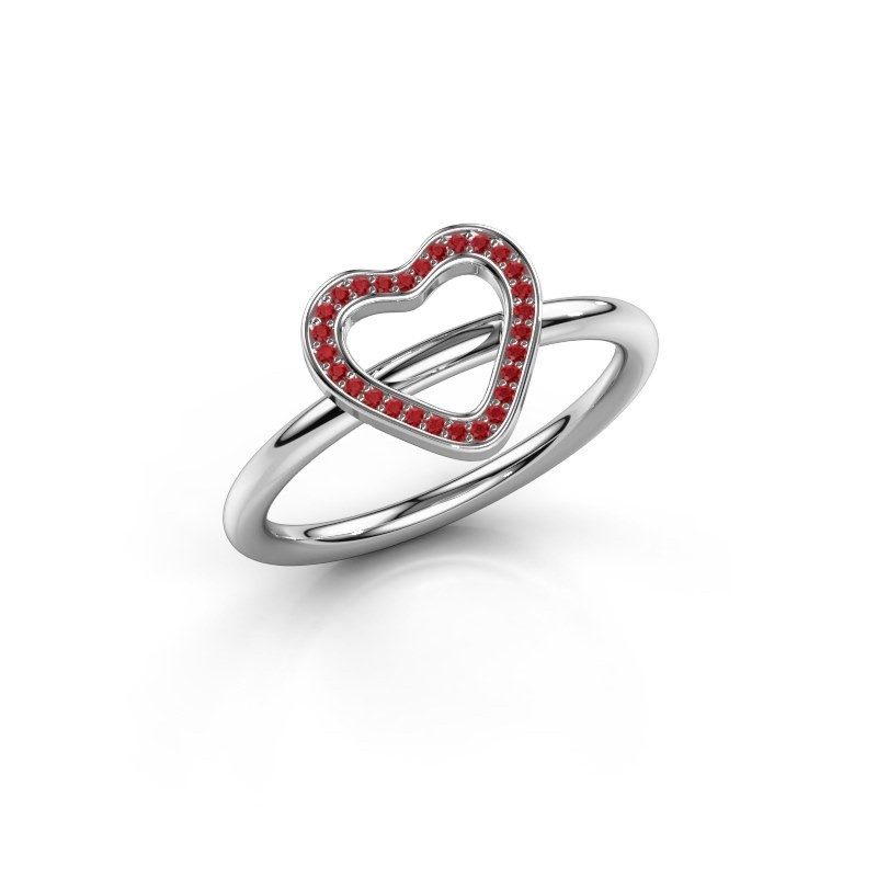 Ring Initial heart 925 zilver robijn 0.8 mm