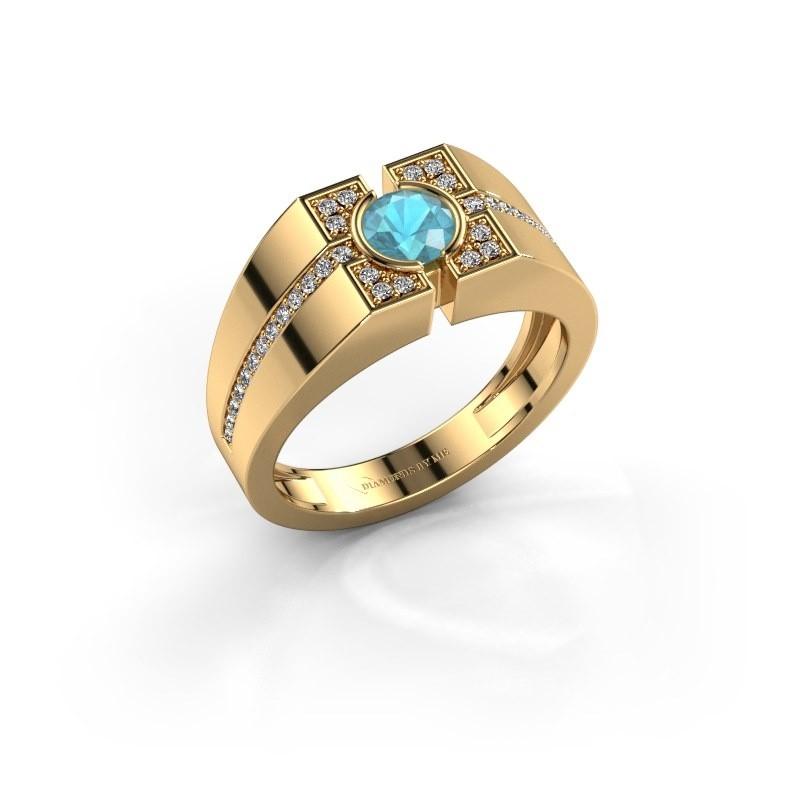 Men's ring Thijmen 585 gold blue topaz 5 mm