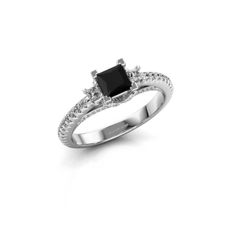 Verlovingsring Valentina 585 witgoud zwarte diamant 0.97 crt