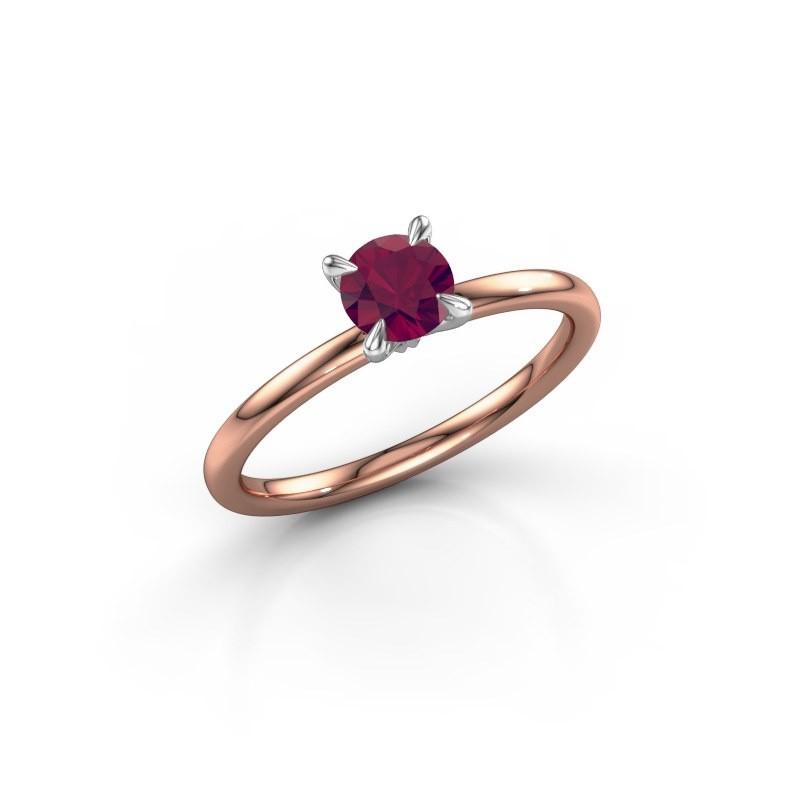 Verlovingsring Crystal RND 1 585 rosé goud rhodoliet 5 mm