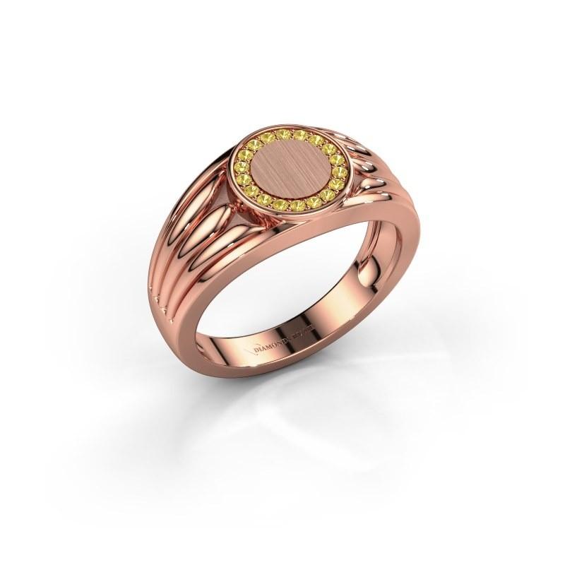 Pinkring Jacobus 375 rosé goud gele saffier 1.2 mm