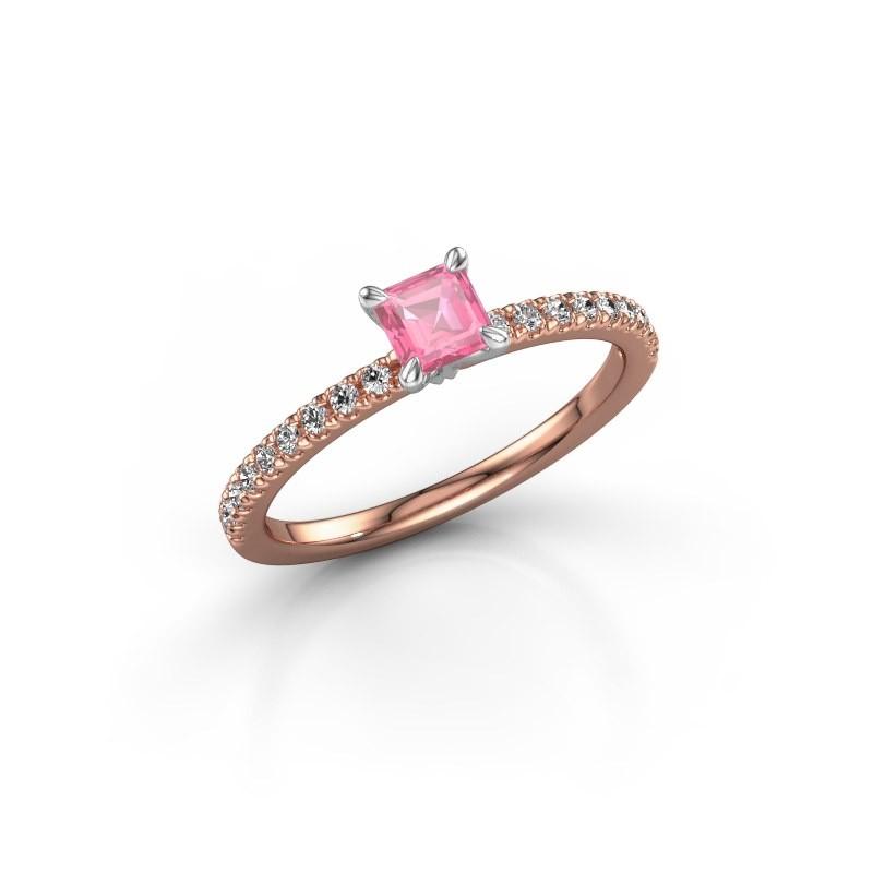 Verlobungsring Crystal ASS 2 585 Roségold Pink Saphir 4.5 mm