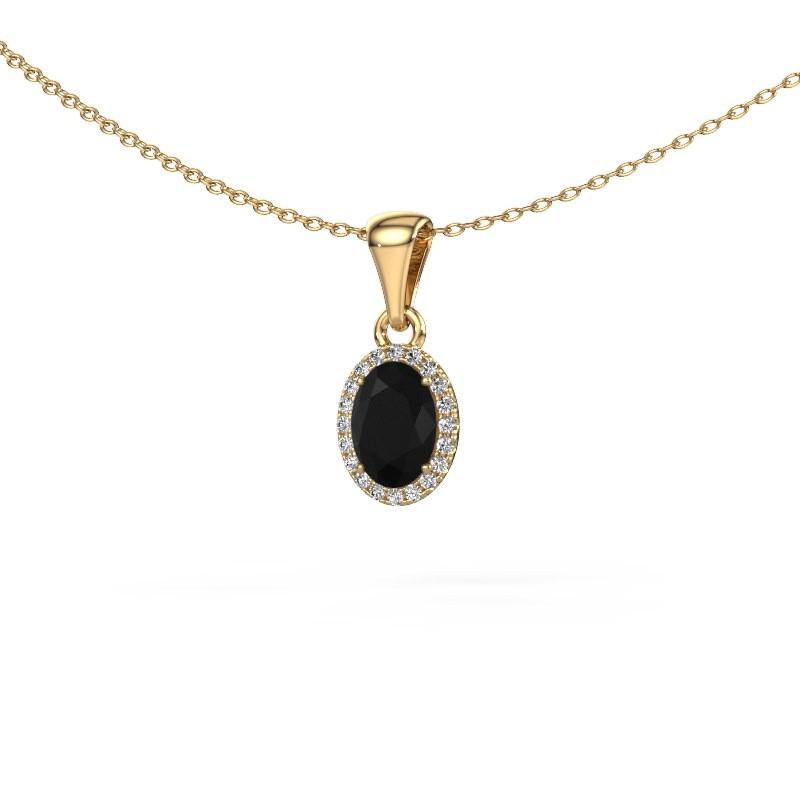 Hanger Seline ovl 585 goud zwarte diamant 1.15 crt