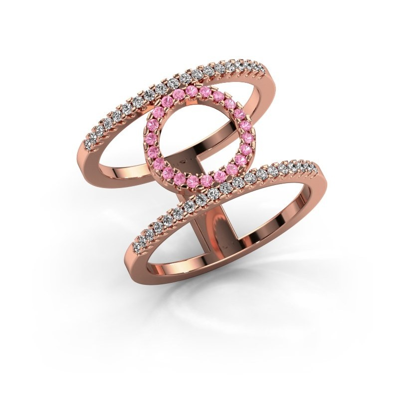 Ring Latoria 2 375 rosé goud roze saffier 1.1 mm