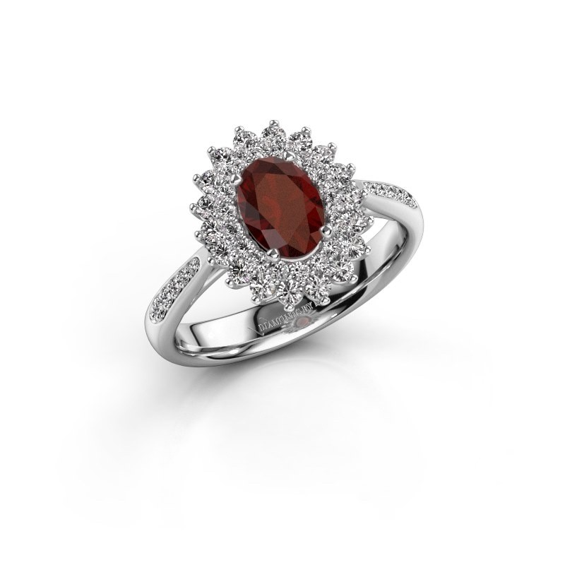 Engagement ring Alina 2 585 white gold garnet 7x5 mm