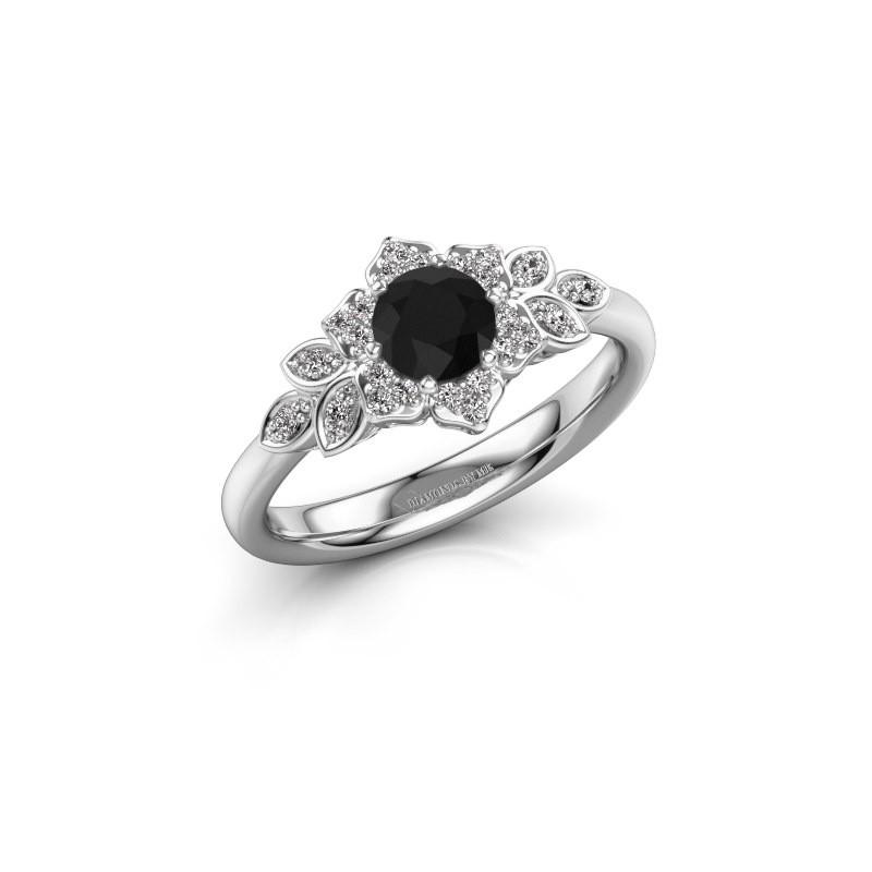 Verlovingsring Tatjana 585 witgoud zwarte diamant 0.735 crt