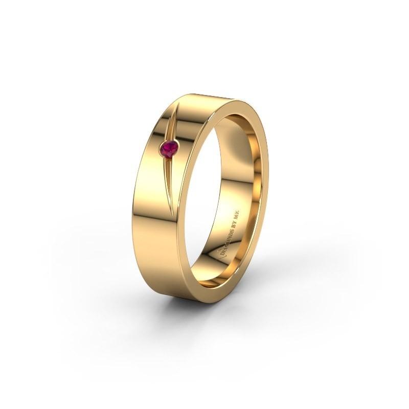 Trouwring WH0170L15A 375 goud rhodoliet ±5x1.7 mm