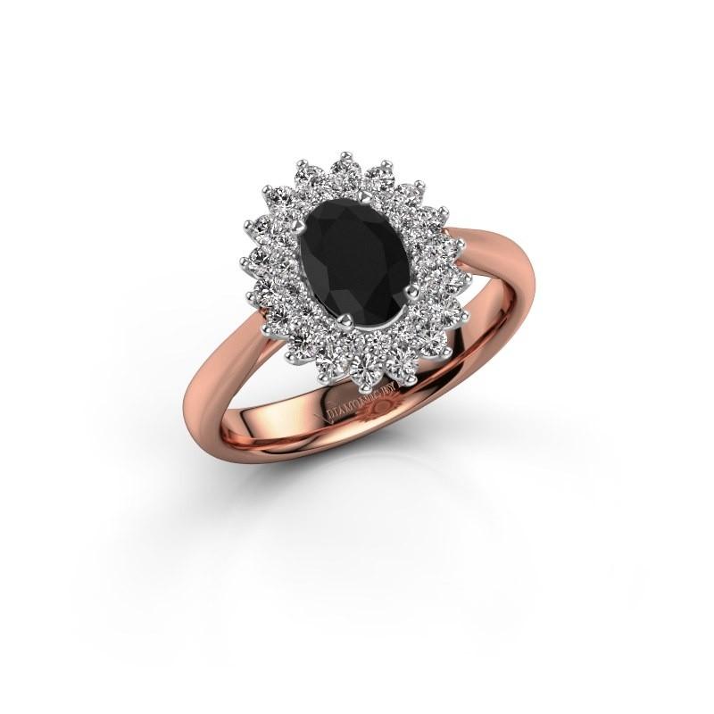 Verlovingsring Alina 1 585 rosé goud zwarte diamant 0.96 crt
