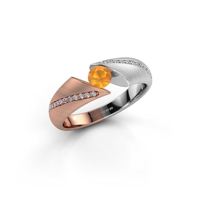 Verlovingsring Hojalien 2 585 rosé goud citrien 4.2 mm