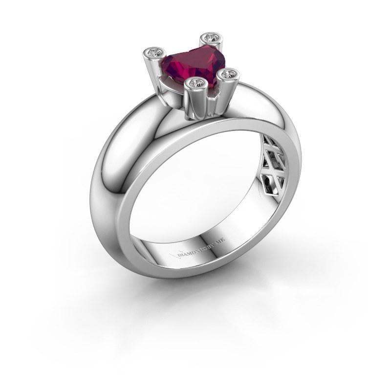 Ring Cornelia Heart 925 silver rhodolite 6 mm