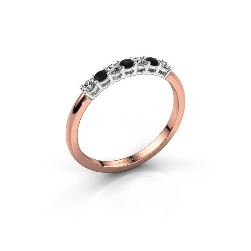 Verlovings ring Michelle 7 585 rosé goud zwarte diamant 0.228 crt