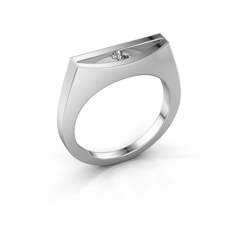 Bague Milou 585 or blanc diamant synthétique 0.10 crt