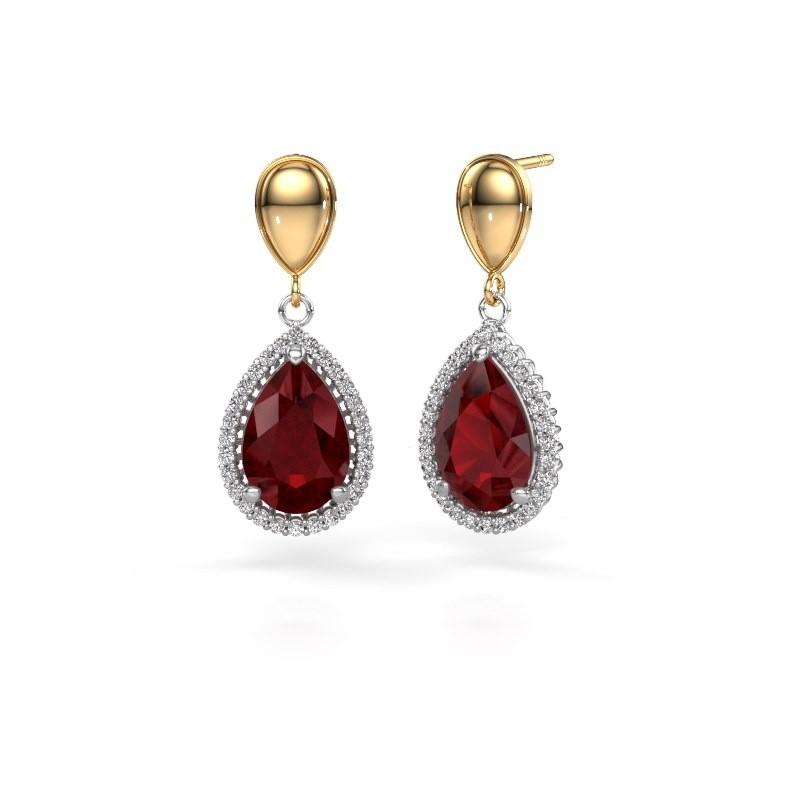 Drop earrings Cheree 1 585 white gold ruby 12x8 mm