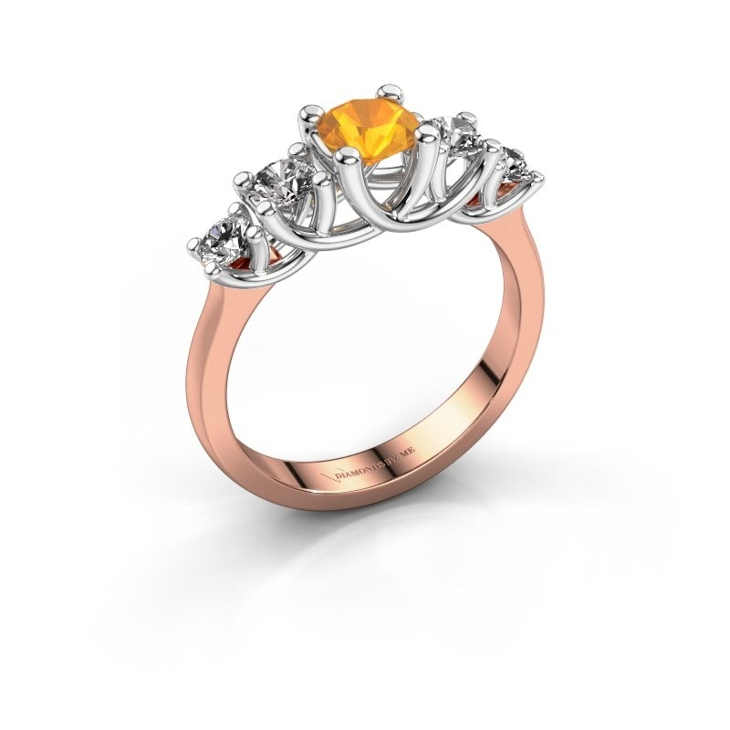 Engagement ring Jet 585 rose gold citrin 5 mm