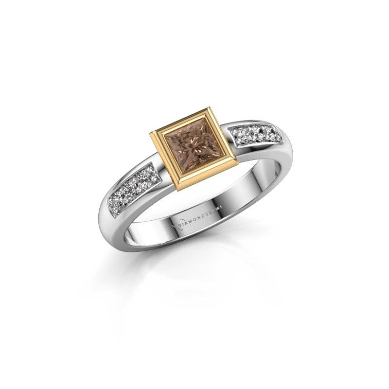 Steckring Lieke Square 585 Weißgold Braun Diamant 0.52 crt