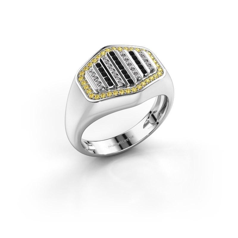 Heren ring Beau 950 platina gele saffier 1 mm