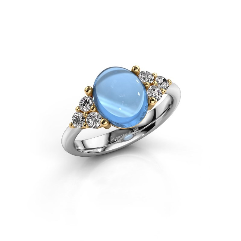 Ring Clarice 585 witgoud blauw topaas 10x8 mm