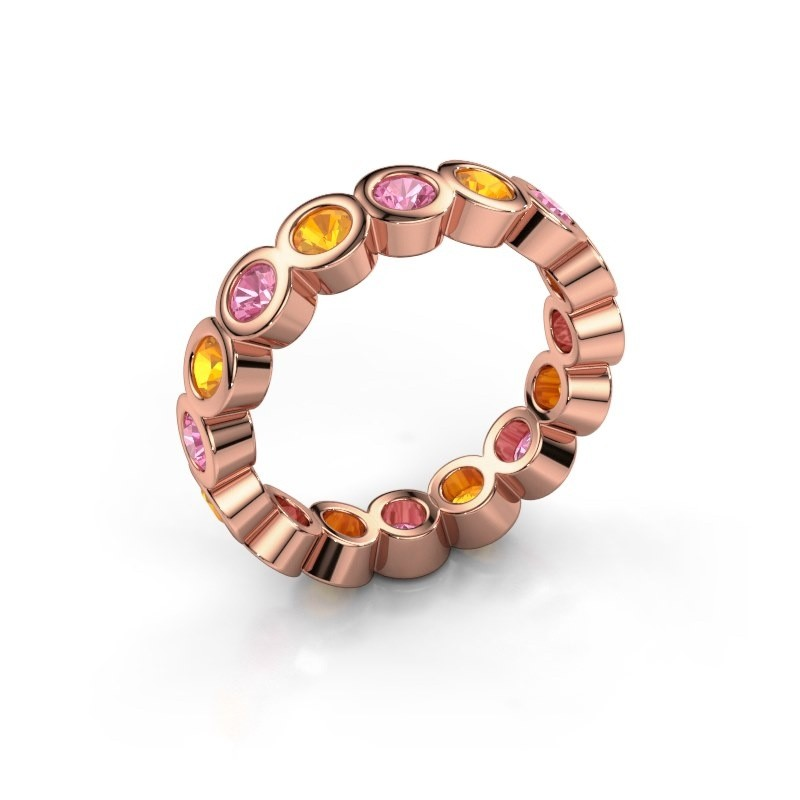 Stackable ring Edwina 3 375 rose gold pink sapphire 3 mm