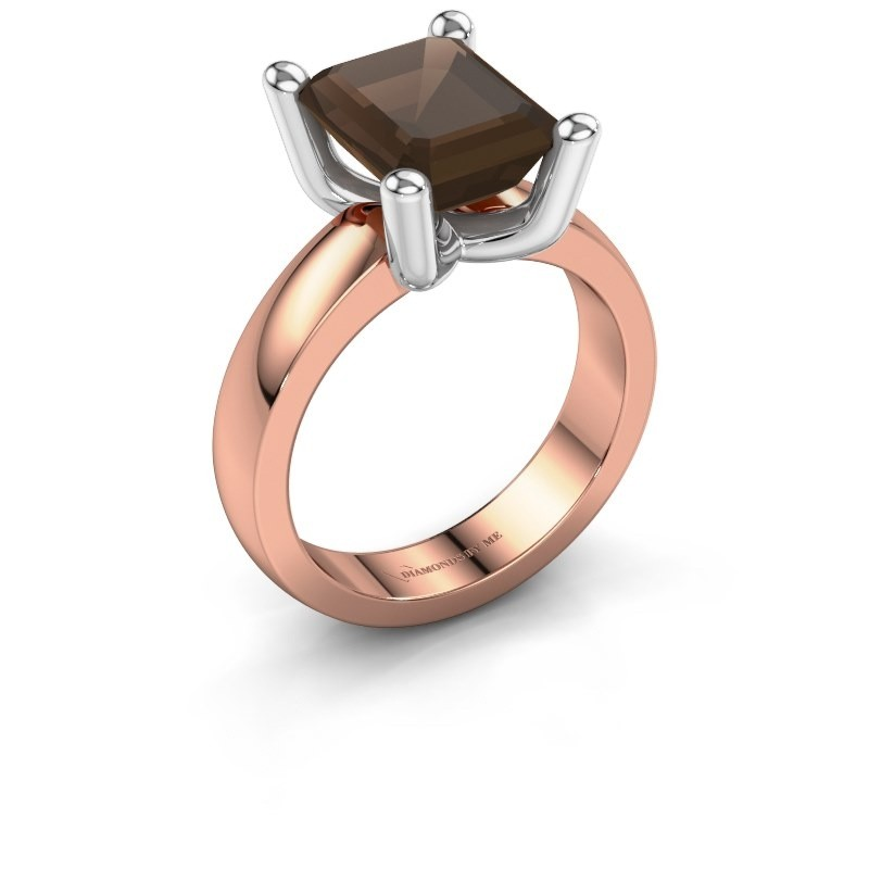 Ring Clelia EME 585 rosé goud rookkwarts 10x8 mm