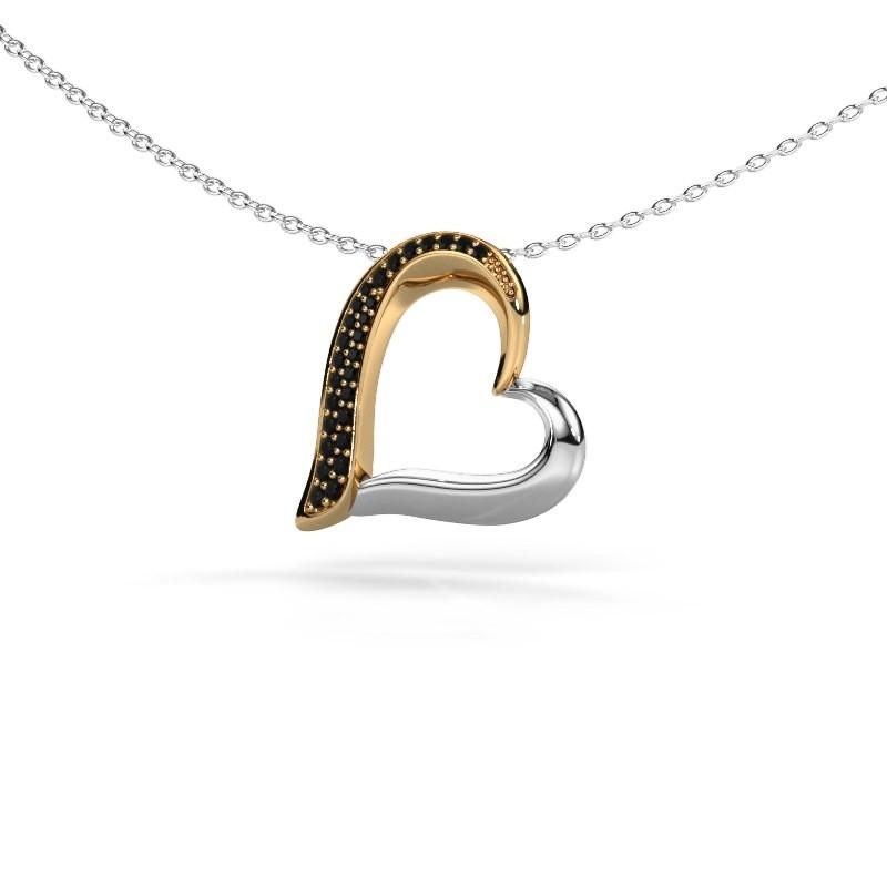 Halsketting Heart 1 585 goud zwarte diamant 0.16 crt
