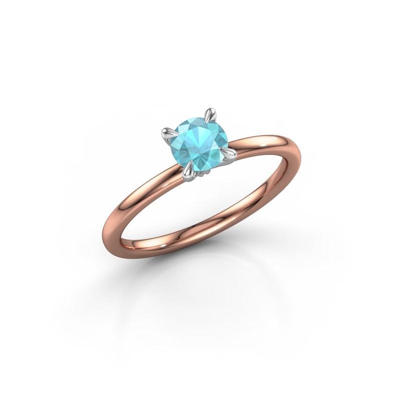 Verlovingsring Crystal RND 1 585 rosé goud blauw topaas 5 mm