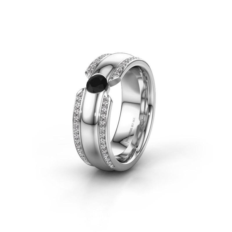 Trouwring WHR0575L 925 zilver zwarte diamant ±7x2 mm