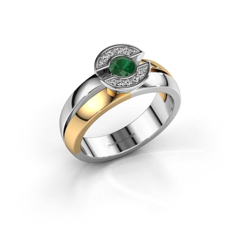 Ring Jeanet 1 585 goud smaragd 4 mm
