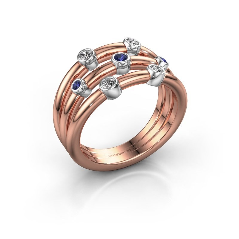 Ring Chloe 585 Roségold Saphir 2 mm