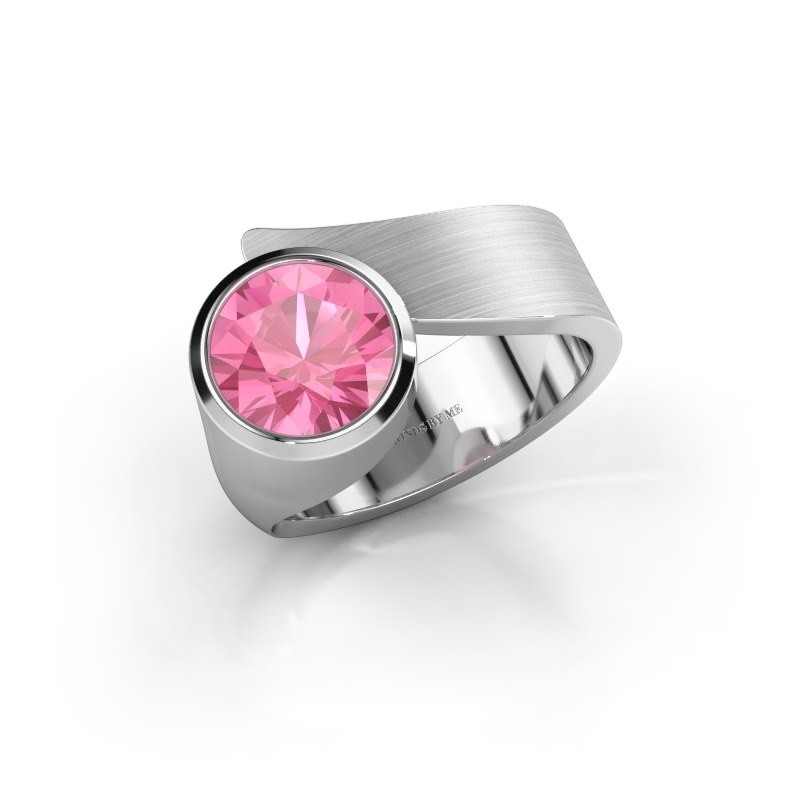 Ring Nakia 375 witgoud roze saffier 8 mm