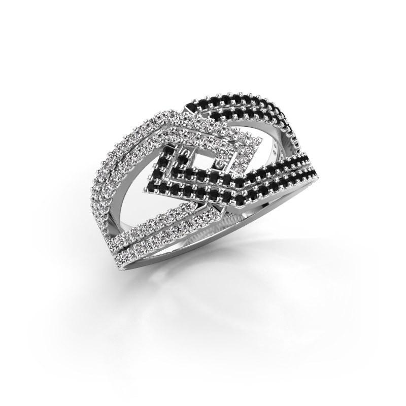 Ring Emanuelle 585 witgoud zwarte diamant 0.836 crt