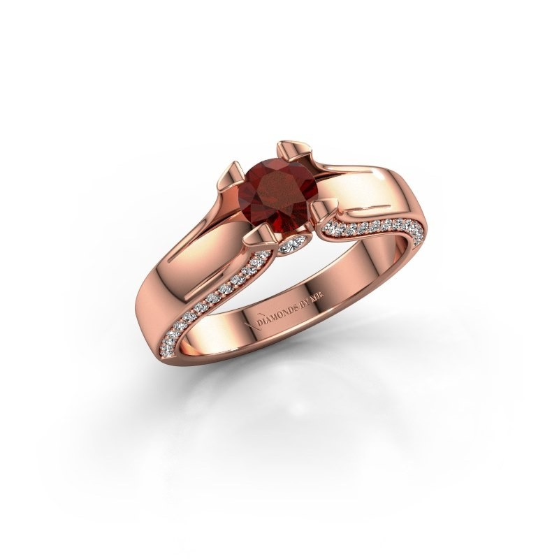 Verlovingsring Jeanne 1 375 rosé goud granaat 5 mm