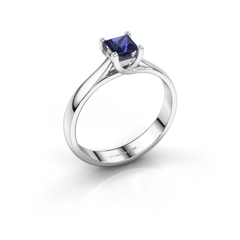Engagement ring Mia Square 925 silver sapphire 4 mm