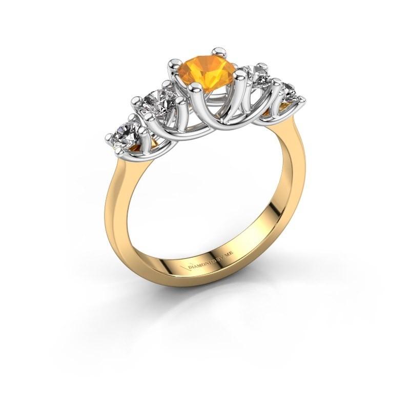 Engagement ring Jet 585 gold citrin 5 mm