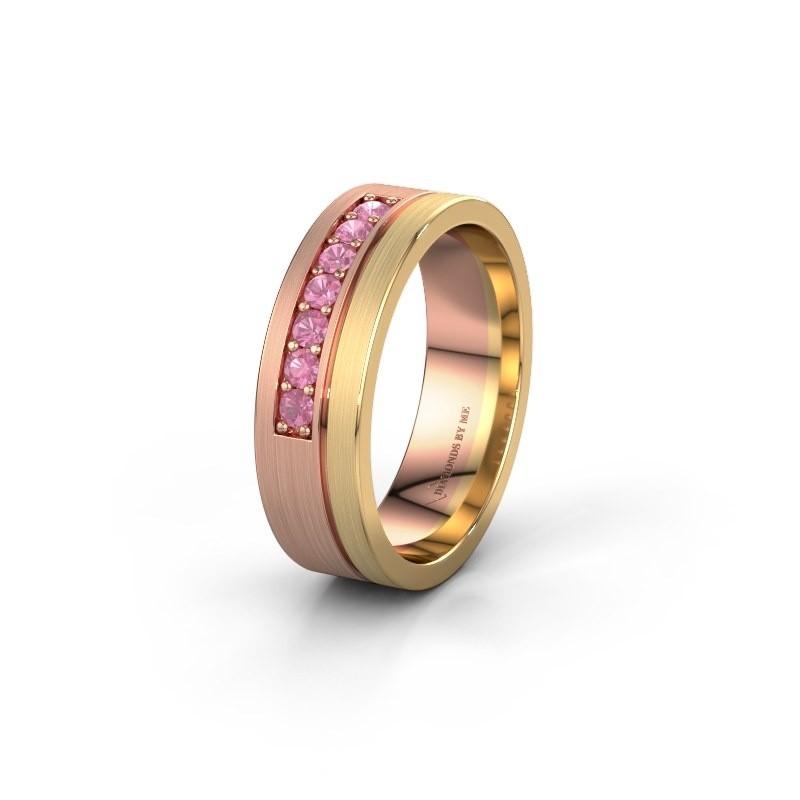 Trouwring WH0312L16AM 585 rosé goud roze saffier ±6x1.7 mm