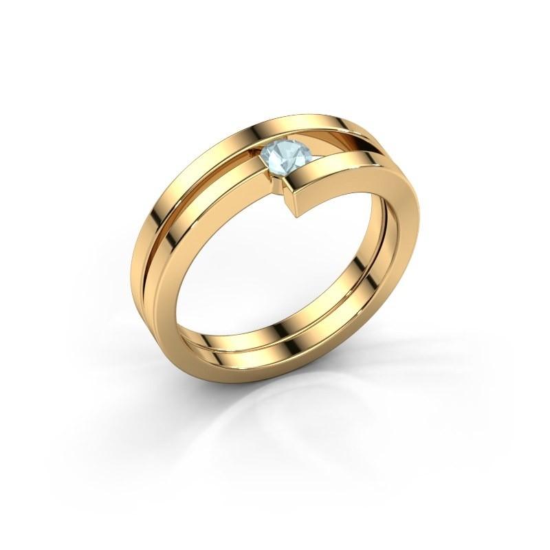 Ring Nikia 585 goud aquamarijn 3.4 mm