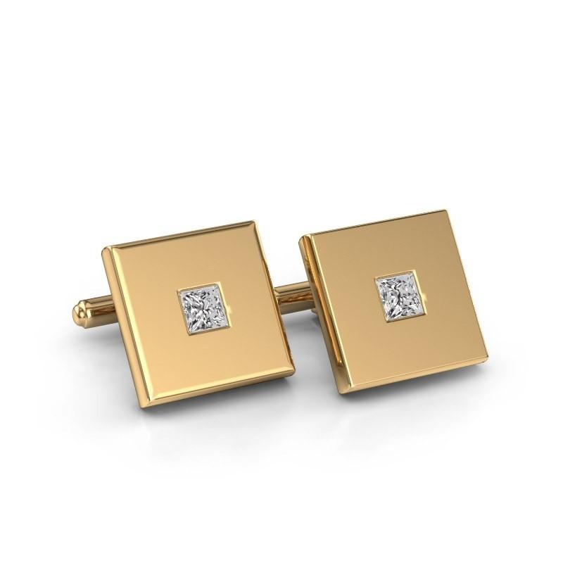 Manchetknopen Givanti 585 goud zirkonia 4 mm