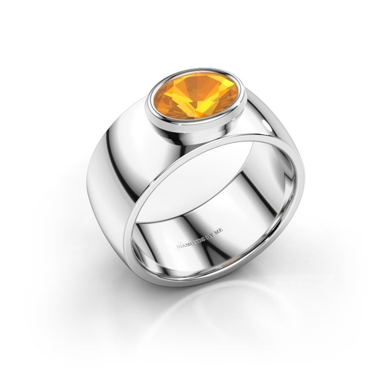 Ring Wilma 1 950 platina citrien 8x6 mm