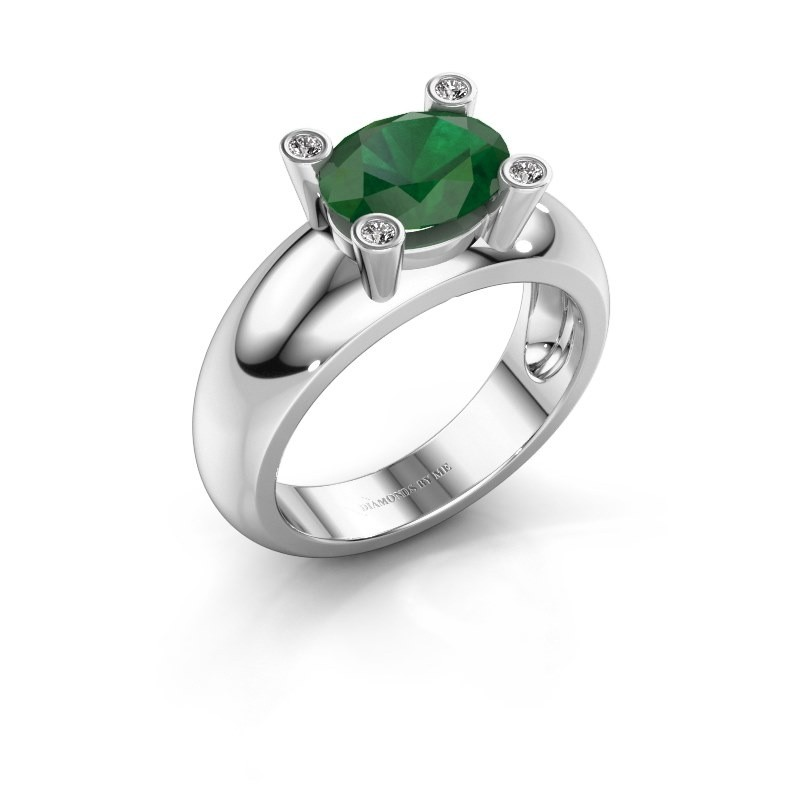Ring Tamara OVL 585 witgoud smaragd 9x7 mm