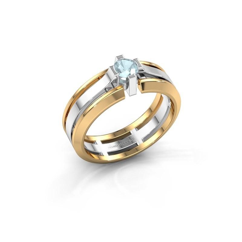 Heren ring Sem 585 witgoud aquamarijn 4.7 mm