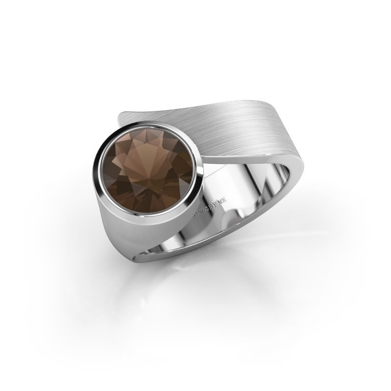 Ring Nakia 375 witgoud rookkwarts 8 mm