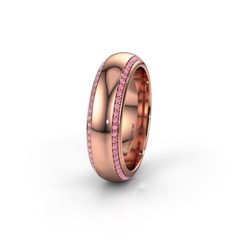 Wedding ring WH6132L36C 375 rose gold pink sapphire ±6x2.2 mm