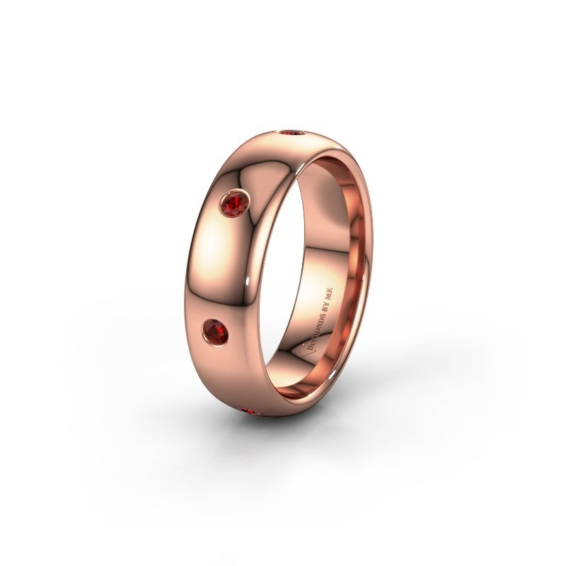 Wedding ring WH0105L36BP 375 rose gold garnet ±6x2 mm