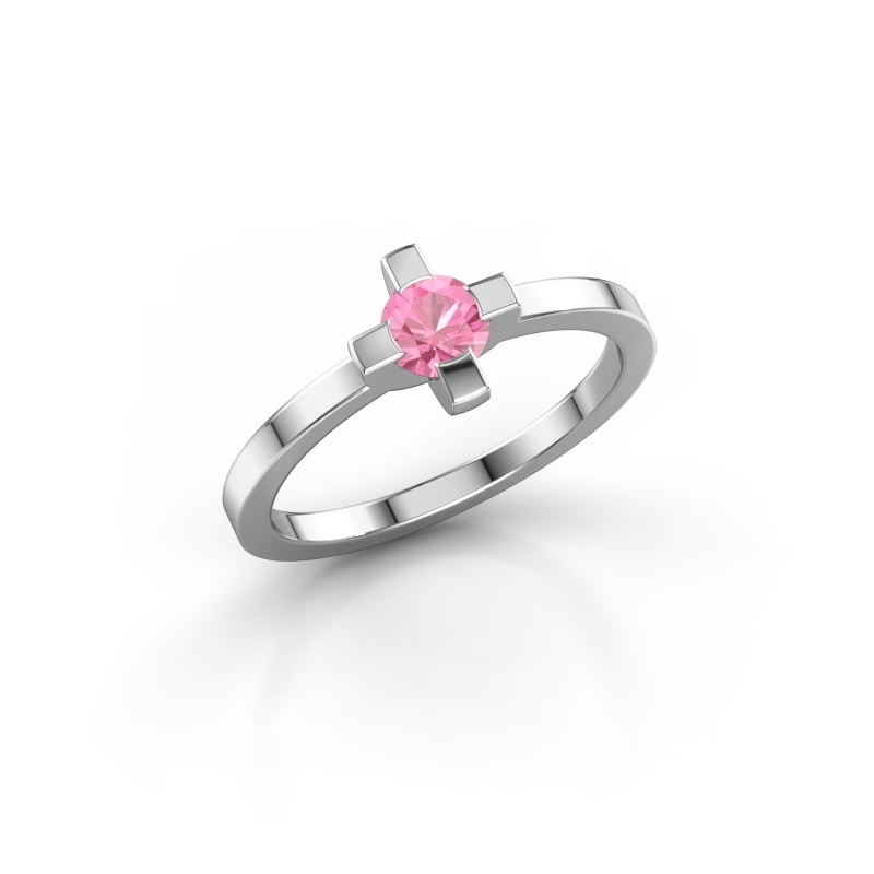 Ring Therese 585 witgoud roze saffier 4.2 mm