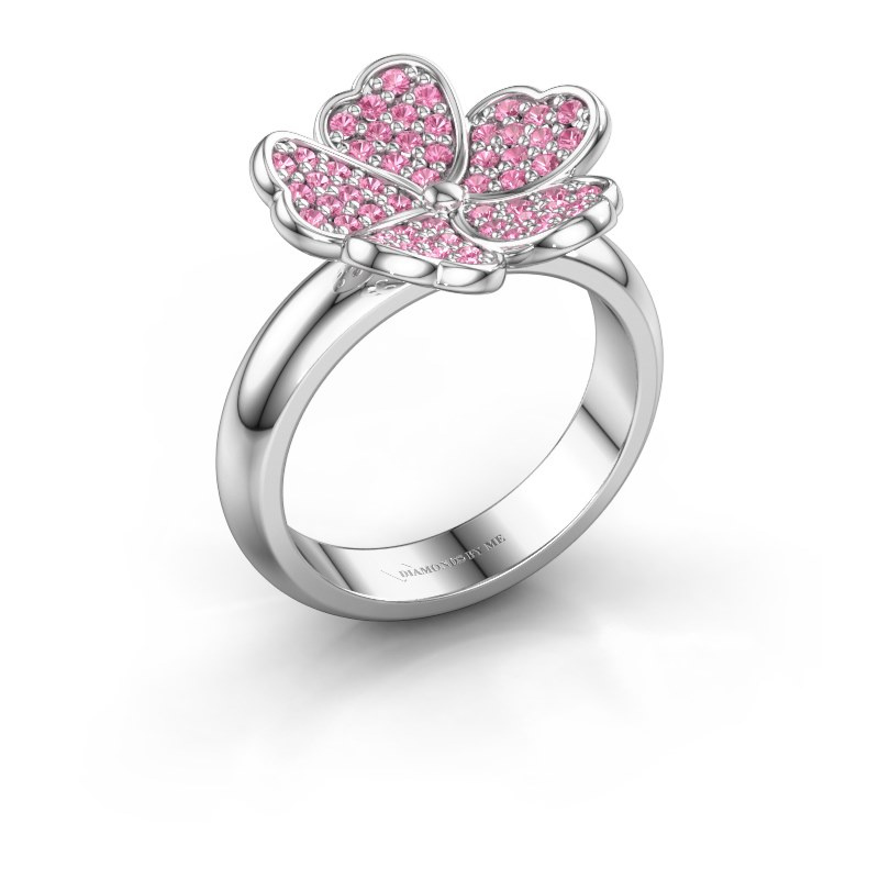 Ring Daphne 925 silver pink sapphire 1.2 mm