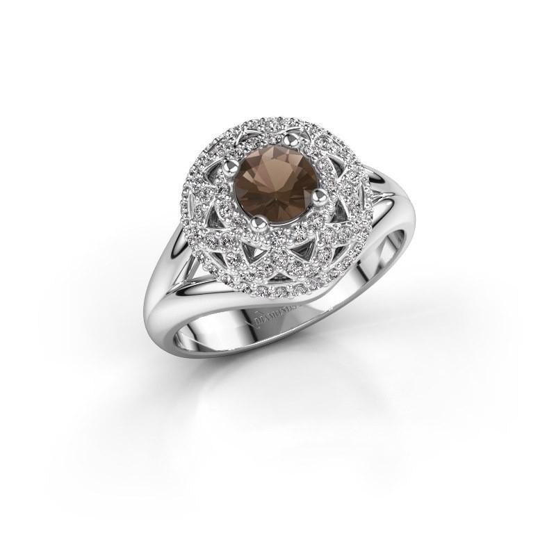 Ring Leonora 925 silver smokey quartz 5 mm