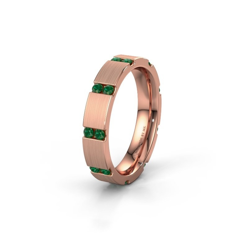 Huwelijksring WH2132L14BM 375 rosé goud smaragd ±4x2.2 mm