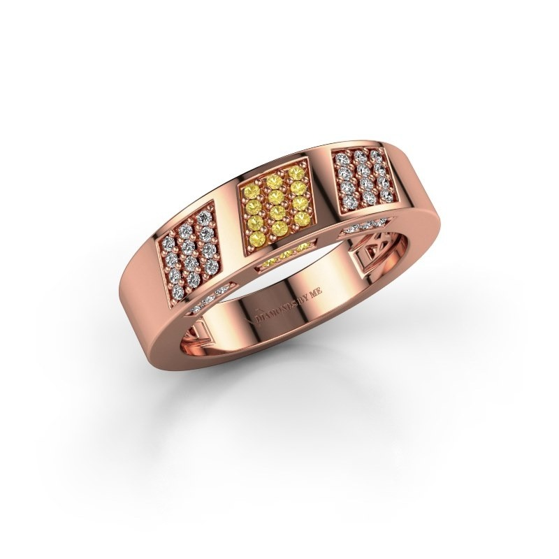 Ring Jessika 375 rose gold yellow sapphire 1.1 mm